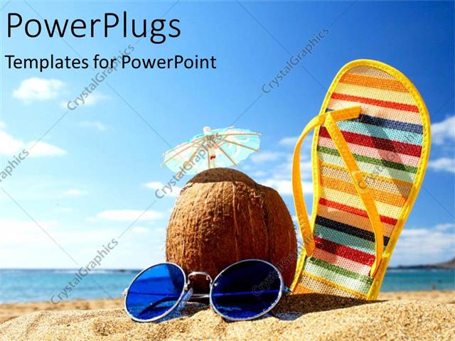 PowerPoint Template a sleeper along with a coconut and sunglasses – Summer Powerpoint Template
