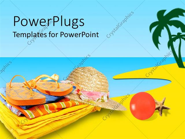 Powerpoint Template Slipper Hat Summer Clothes Placing Near Sea