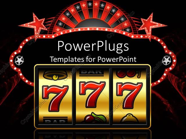 PowerPoint Template Displaying Slot Machine Showing 777 Digits Representing a Win