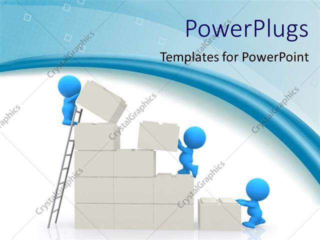 powerpoint template: small blue figures building wall from large, Modern powerpoint