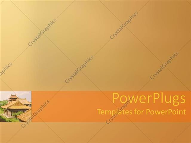 powerpoint template: small depiction of oriental temple building, Modern powerpoint