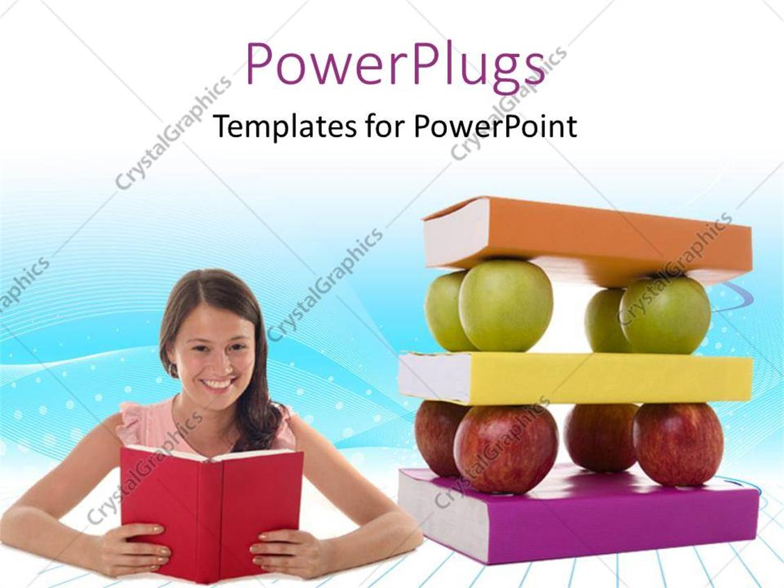 PowerPoint Template Displaying Smiling Lady Holds Open Book with Pile of Books and Apples