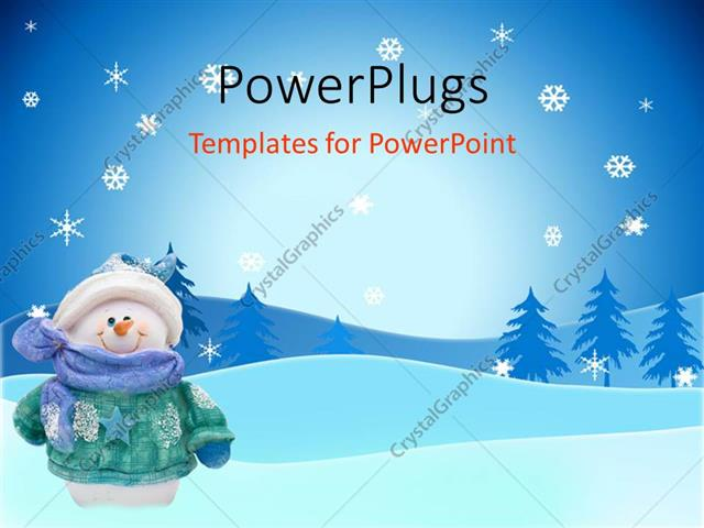 powerpoint template smiling snowman in coat, hat, scarf, mittens, Powerpoint