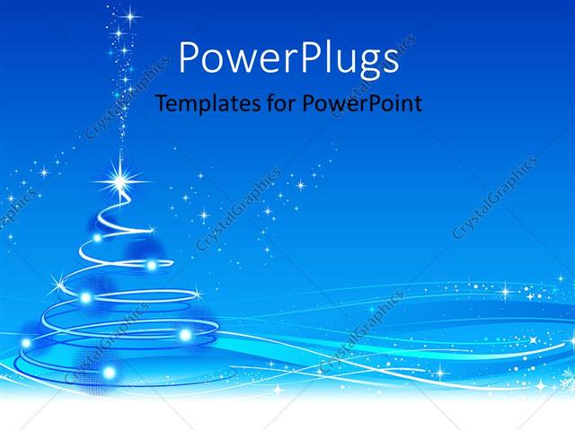 powerpoint template: snow flakes with sparkling stars on abstract, Modern powerpoint