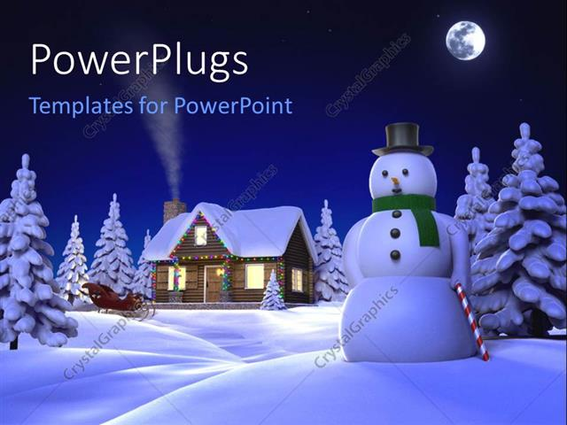 powerpoint template a snowman and a house in its background, Powerpoint