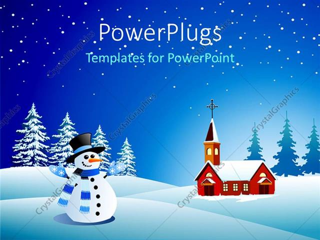 powerpoint template snowman wearing blue and white scarf, black, Powerpoint