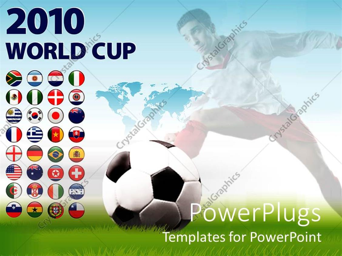 powerpoint template soccer theme with 2010 world cup and