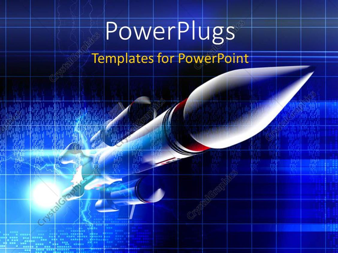 PowerPoint Template: A Space Rocket With Bluish Background