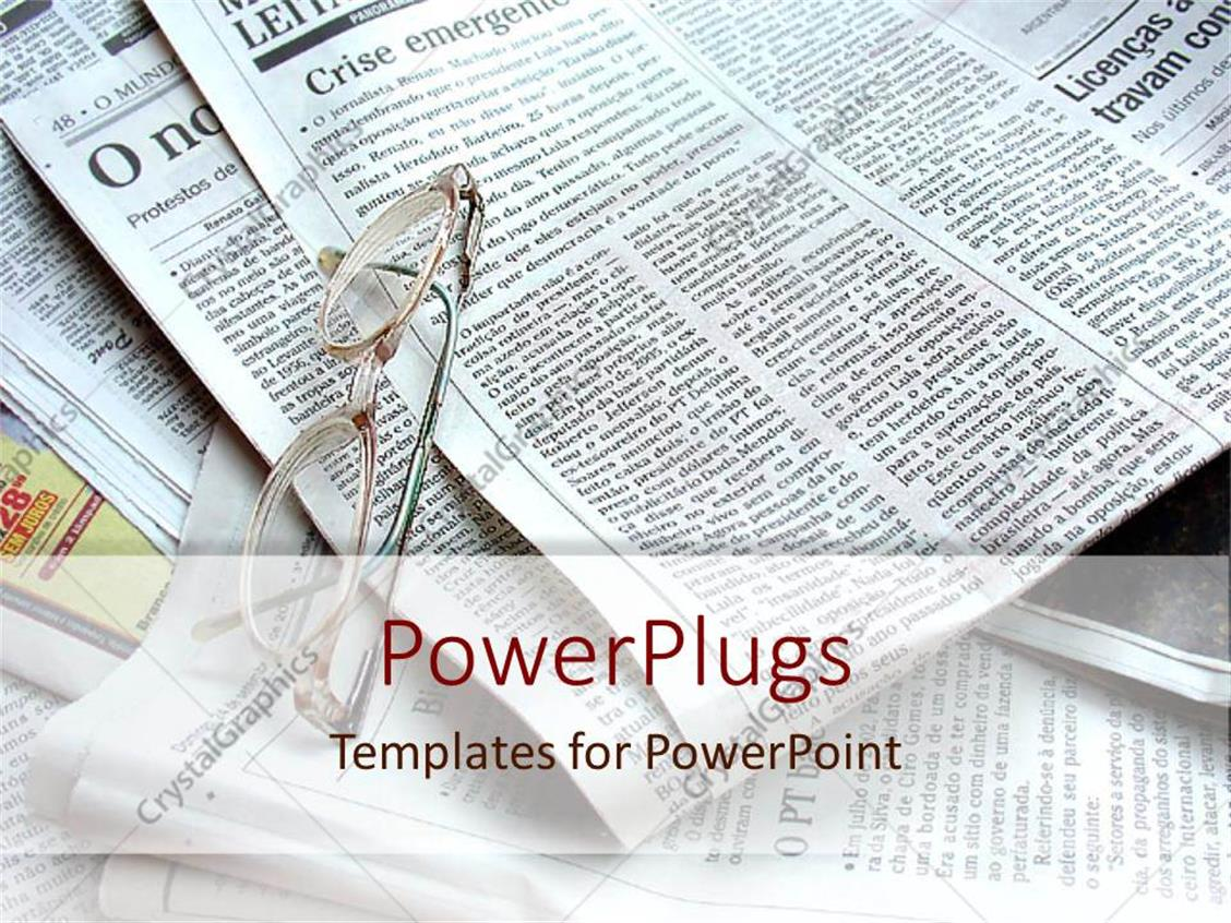 PowerPoint Template Displaying Spectacles on Several Sheets of News Paper