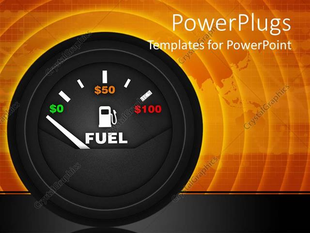powerpoint template: a speedometer with indication of fuel and its, Powerpoint templates