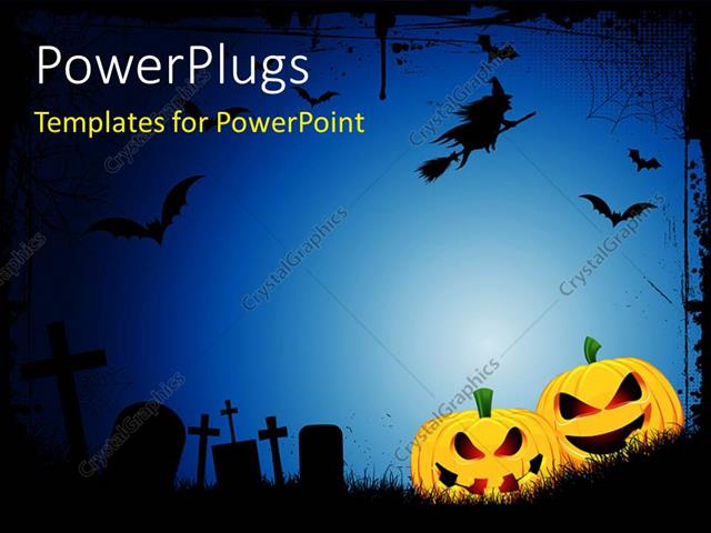 Powerpoint template spooky halloween background with spooky jack o lanterns in a graveyard with for Halloween powerpoint templates
