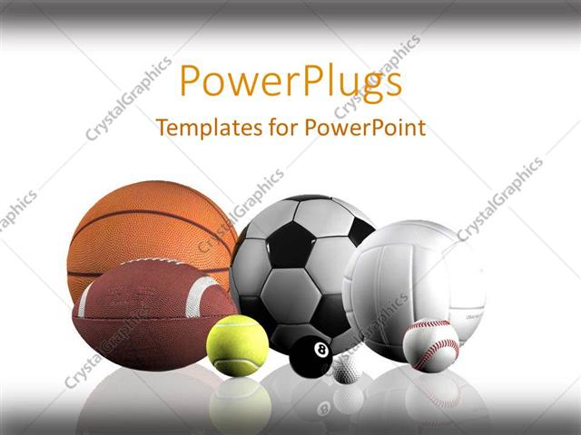 Powerpoint Template: Sports Balls Lined Up White Background (2835)