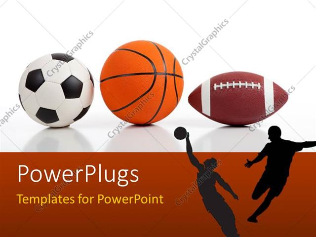 Powerpoint Template: Sports Equipment On White Including A