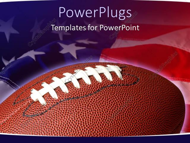powerpoint template sports theme with football on waving american flag background 12835. Black Bedroom Furniture Sets. Home Design Ideas