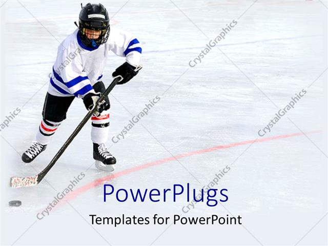 powerpoint template sports theme with hockey player playing ice, Templates