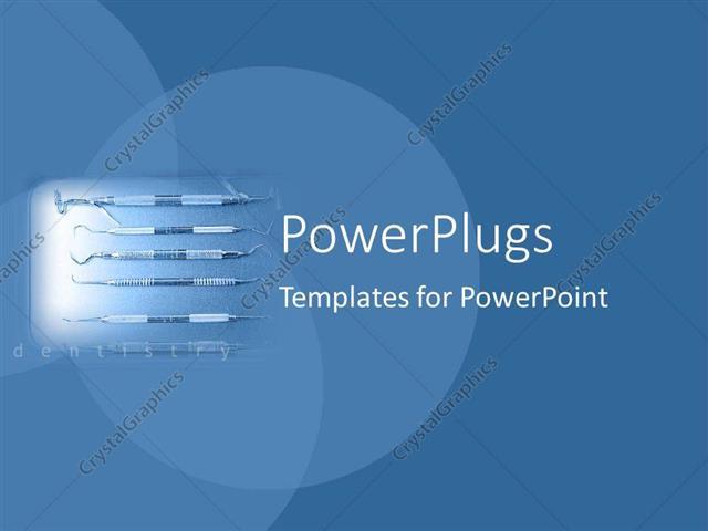 powerpoint template: spotlight depicting dental equipment with, Modern powerpoint