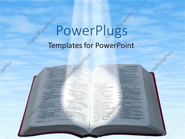 powerpoint template: spotlight glowing on open bible with blue, Modern powerpoint