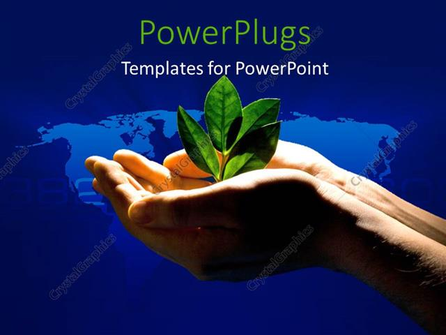 powerpoint template: spotlight shining on plant sprouting from, Modern powerpoint