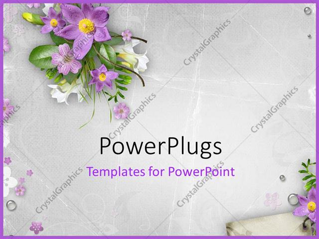 Powerpoint Template Spring Flowers On Textured Background