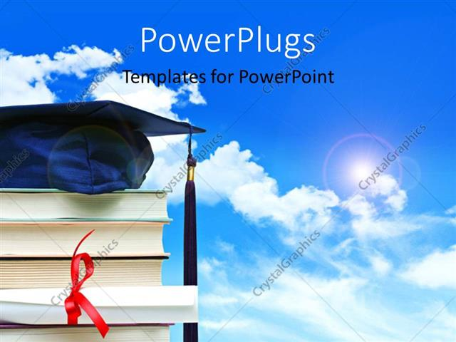 Powerpoint Template: A Stack Of Books With A Graduation Gown On
