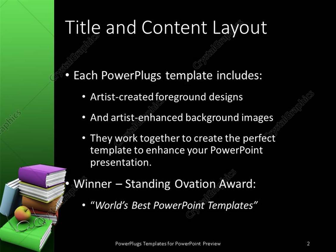 powerpoint template: stack of colorful books with an apple and a, Presentation templates