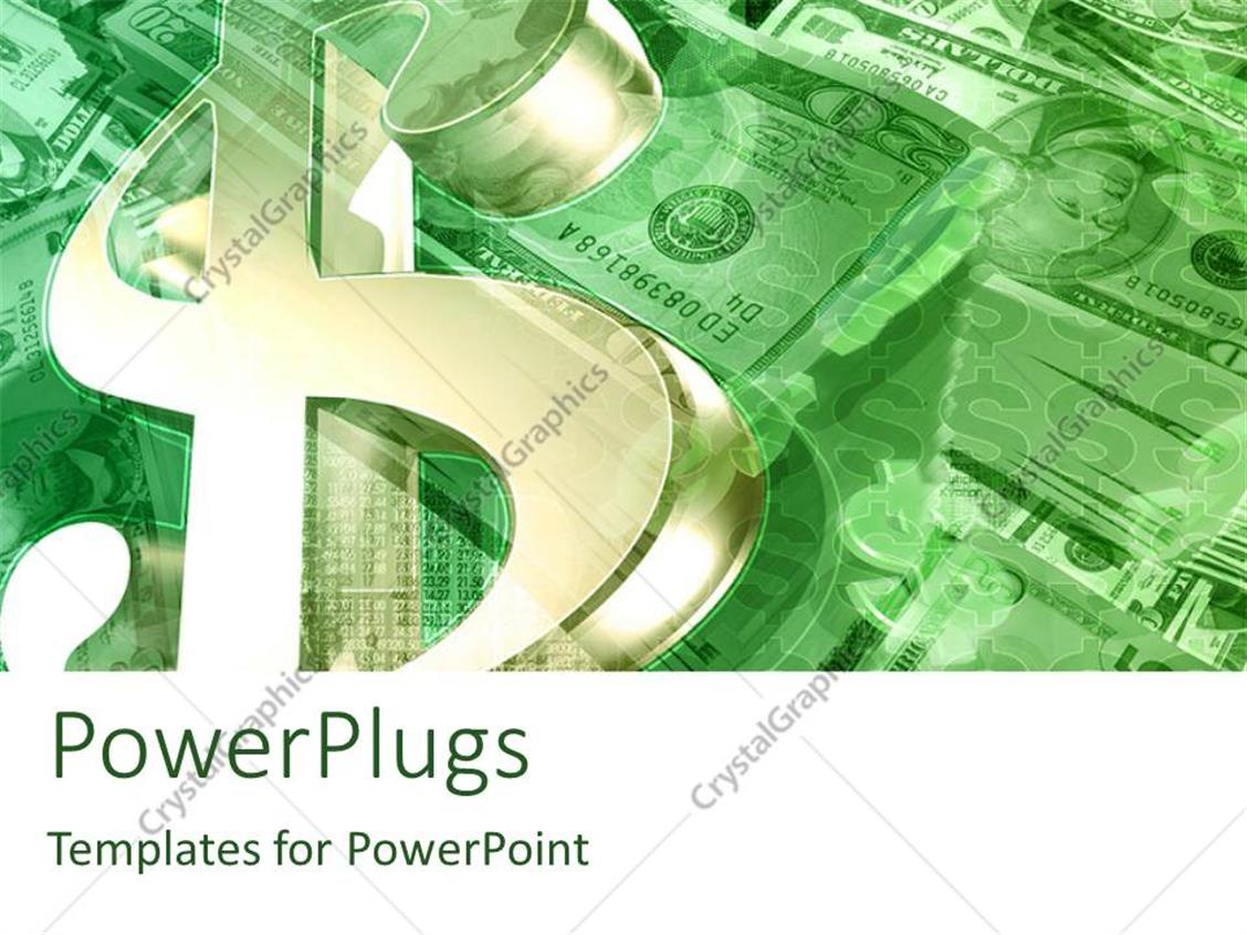 PowerPoint Template Displaying Stacks and Piles of Dollar Bills with a $ Symbol