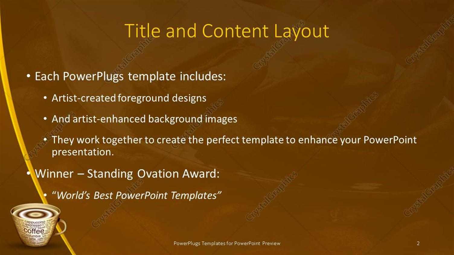 powerpoint template: coffee beans in large spoon with steaming cup, Presentation templates