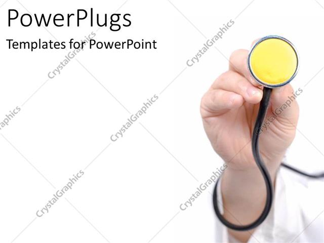 powerpoint template: stethoscope in doctor's hand, medicine, heart, Powerpoint templates