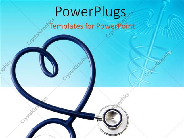 powerpoint template: stethoscope in the shape of a heart with, Powerpoint templates