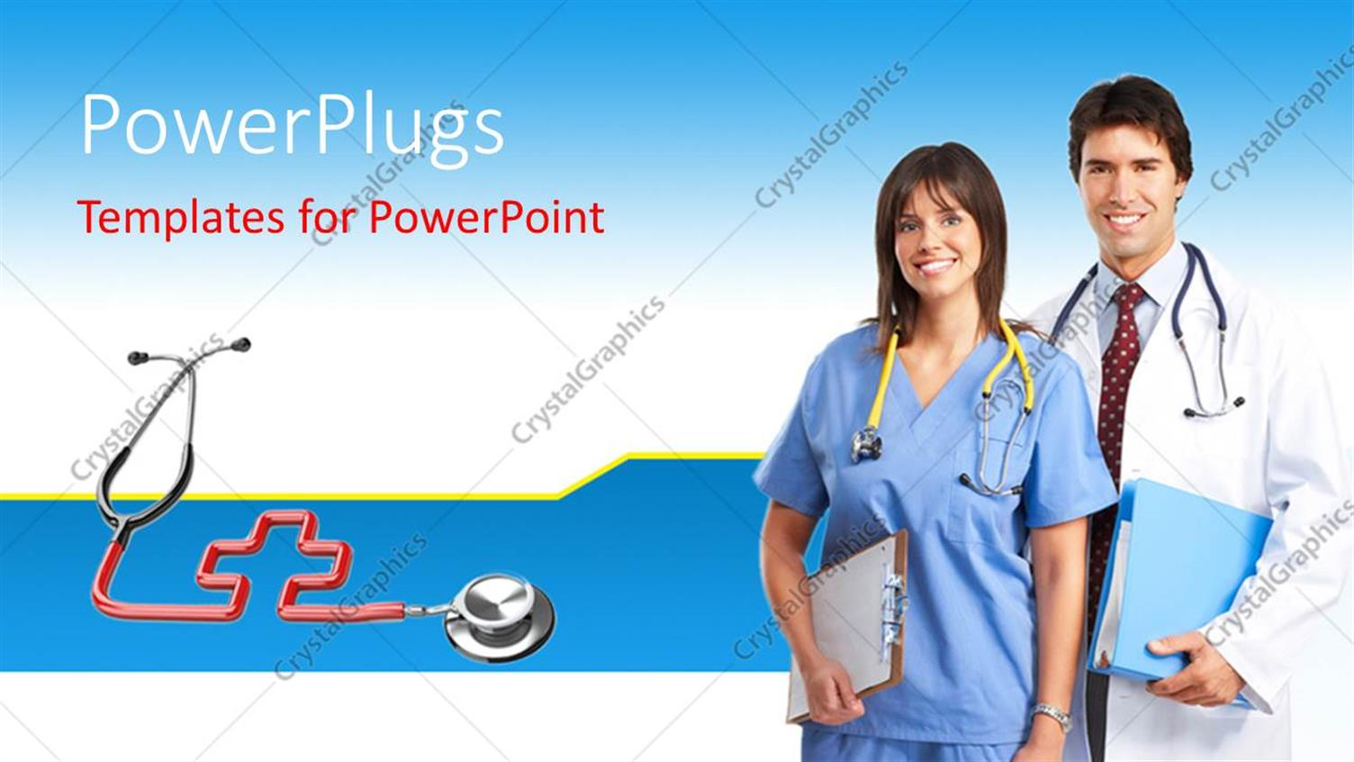 powerpoint template a male and female medical doctor wearing stethoscopes 19992. Black Bedroom Furniture Sets. Home Design Ideas