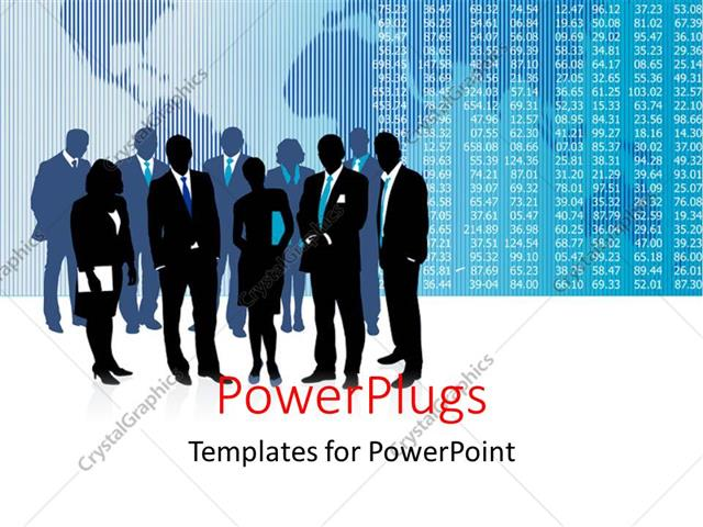 PowerPoint Template Displaying Stock Market Chart Over World Map with Business People Standing by