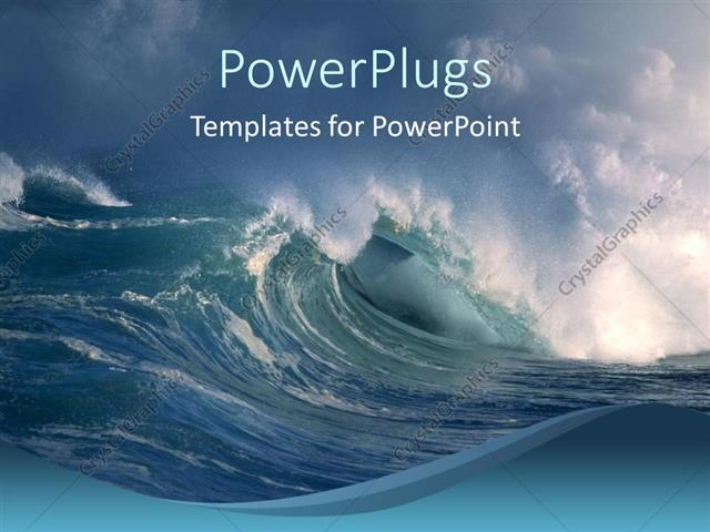 powerpoint template: storm on the ocean, big waves, crashing on, Modern powerpoint