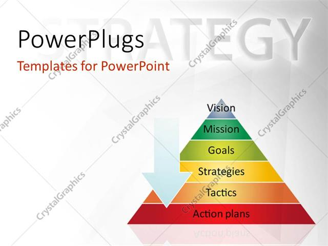 PowerPoint Template Displaying Strategy Pyramid Business Management Process Concept Diagram