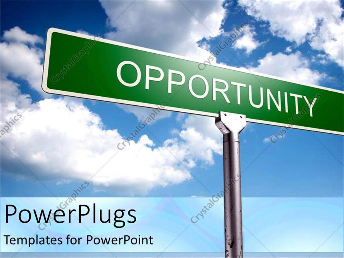 PowerPoint Template Displaying Street Sign of Opportunity with Blue Skies as a Metaphor Positive Thinking