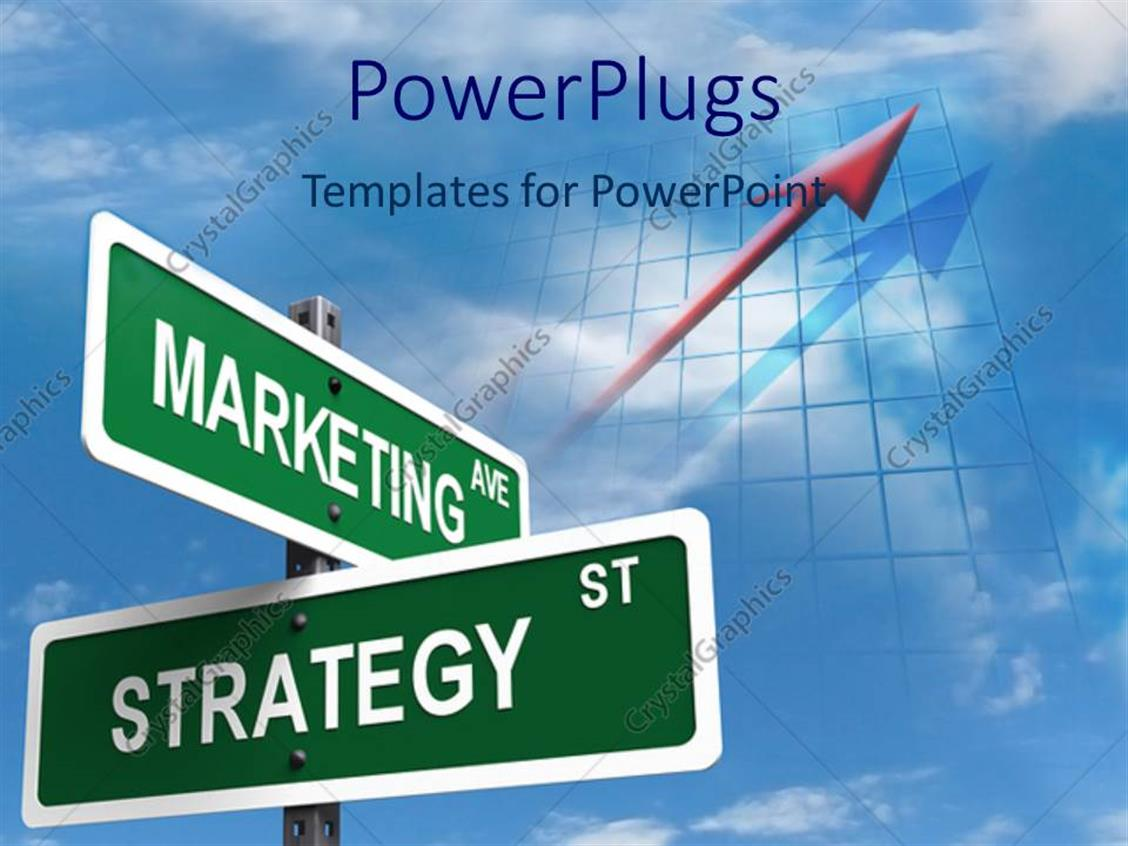 PowerPoint Template: Street Signs Intersection Of Marketing Ave And Strategy St. (5384