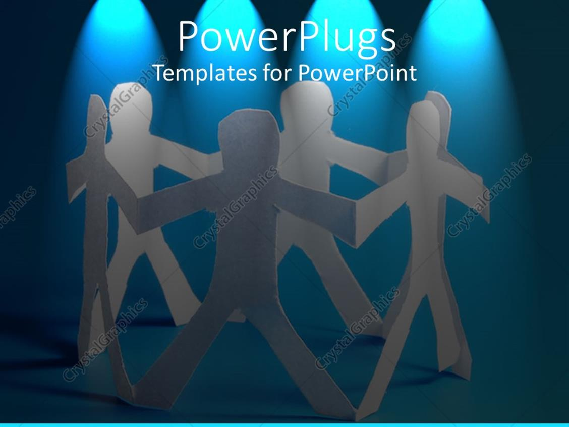 powerpoint template string of paper dolls arranged in