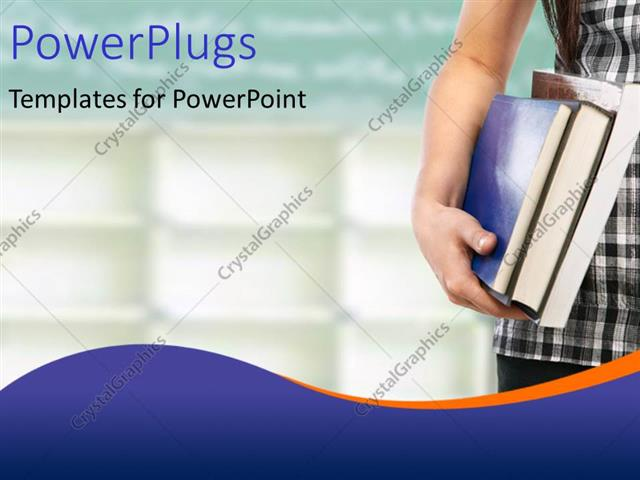 powerpoint template: student with books depicting educational, Presentation templates