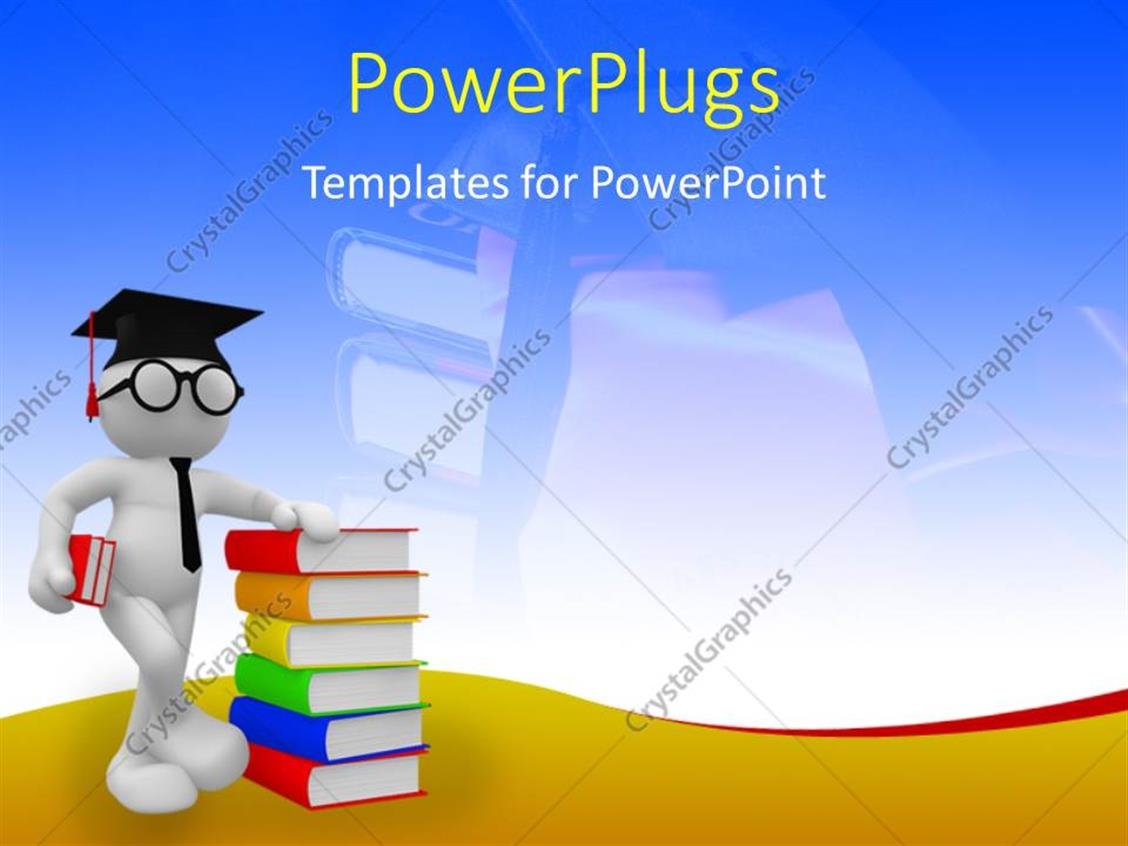 PowerPoint Template Displaying Student Standing with a Pile of Colorful Books and Graduation Cap on his Head