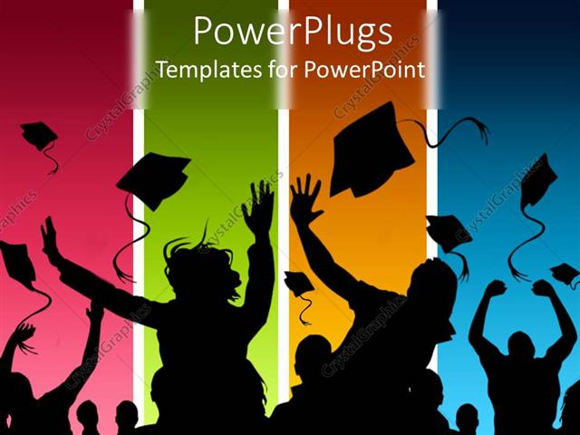powerpoint template: students celebrating graduation on, Modern powerpoint