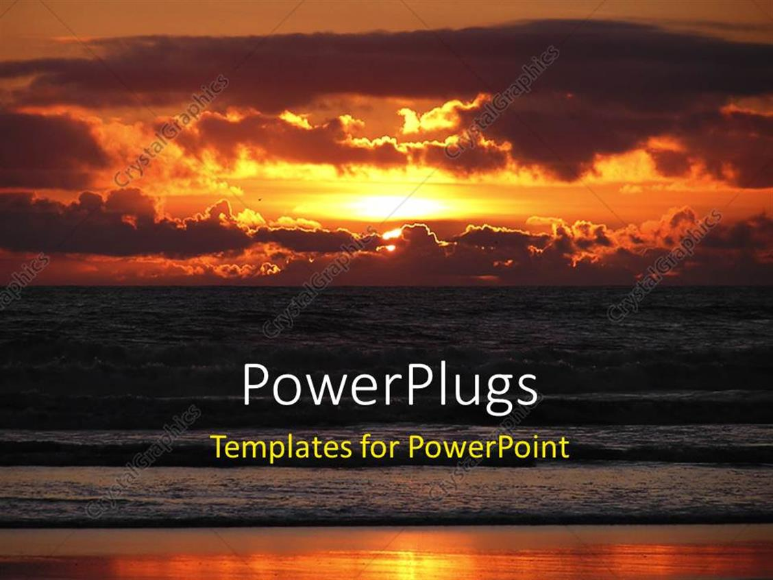 powerpoint template a sunset in the background with a lot