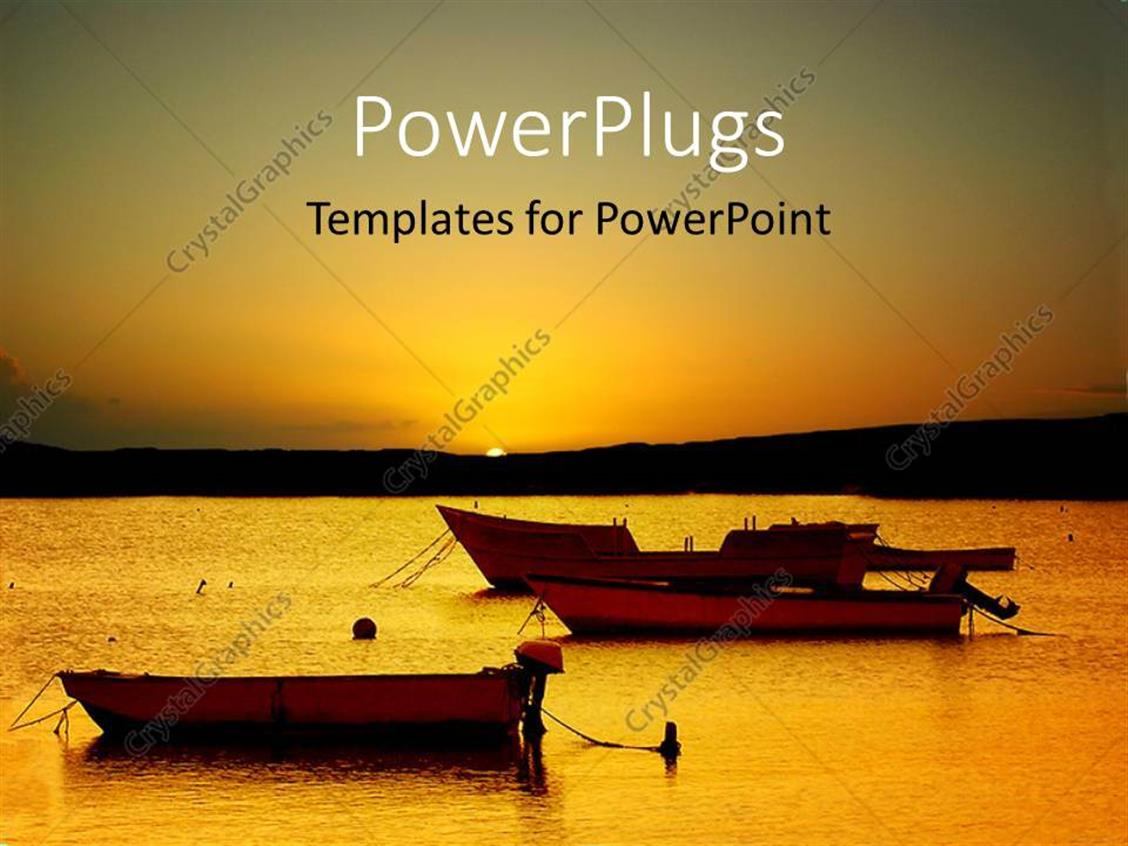 powerpoint template a sunset on a beach with boats in the