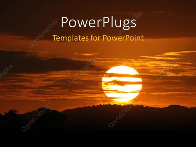 PowerPoint Template Displaying Sunset on Horizon with Cloudy Sky Over Beautiful Landscape
