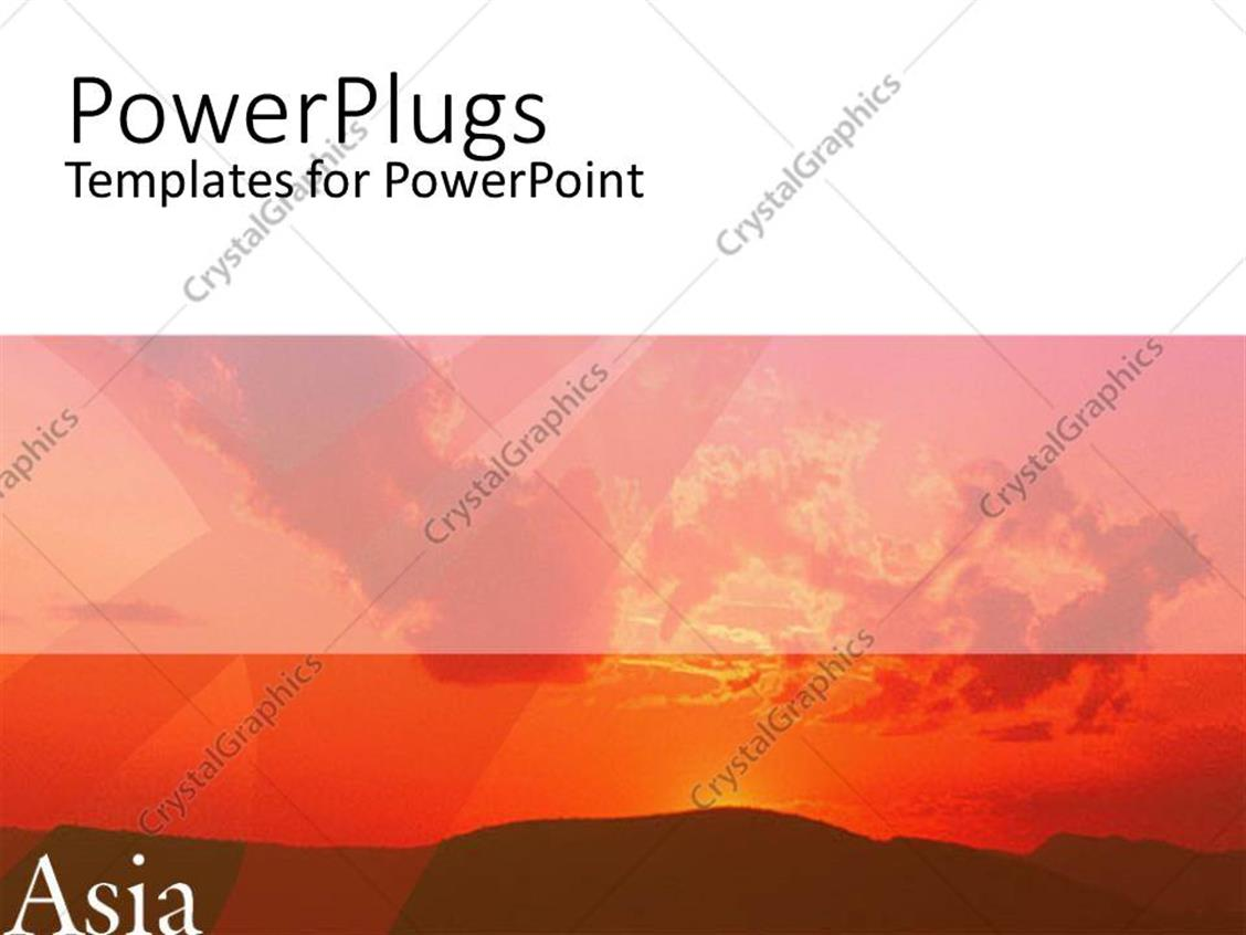 powerpoint template sunset view in orange and brown with