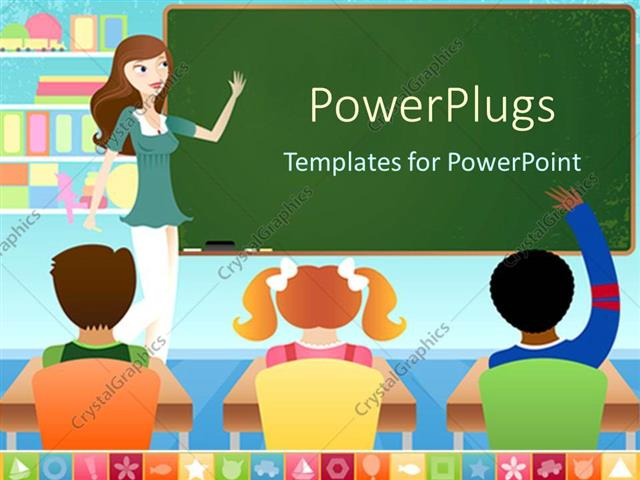 powerpoint template teacher and three pupils in classroom with, Powerpoint
