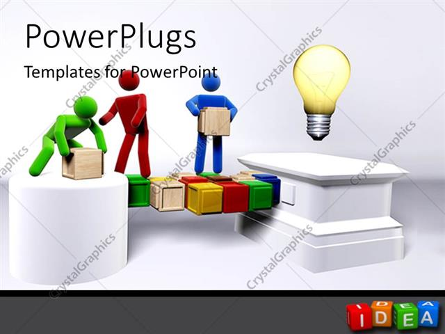 Powerpoint Template: Team Of 3D Figures Collaborating To Reach An