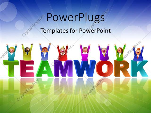 Powerpoint template team in different colors over the word powerpoint template displaying team in different colors over the word teamwork with landscape in toneelgroepblik Choice Image