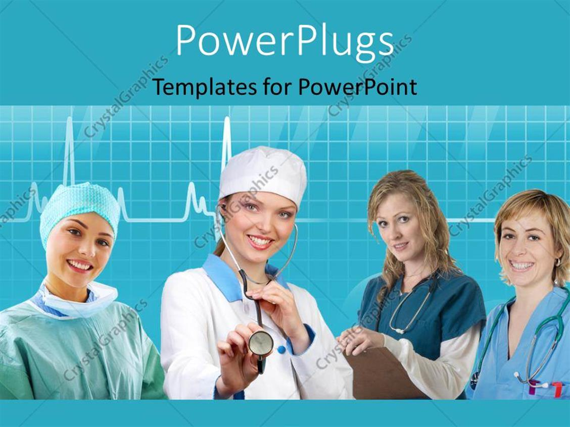 nursing roster templates - powerpoint template team of nurses with stethoscope
