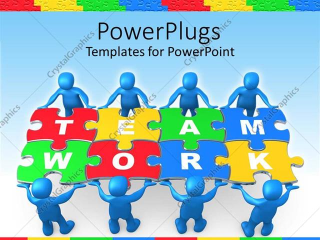 Powerpoint template team work graphics with people holding puzzle powerpoint template displaying team work graphics with people holding puzzle to problem on blue toneelgroepblik Choice Image
