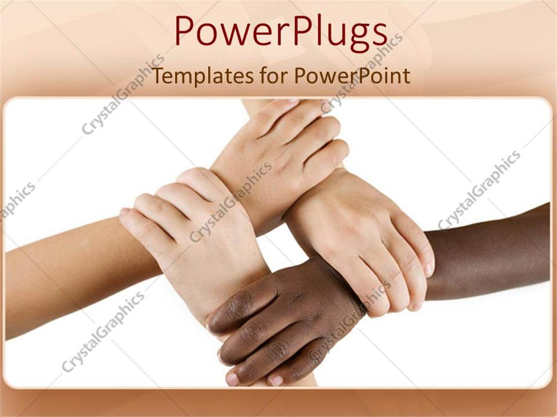 diversity policy template - powerpoint template teamwork diversity hands working