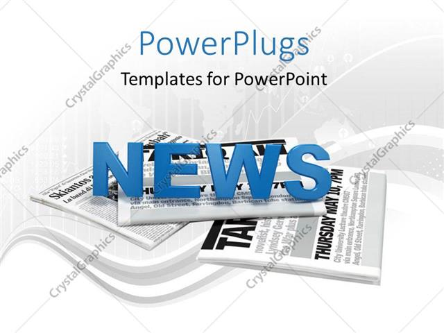 Powerpoint Template Text News On A Bunch Of Newspaper With Map